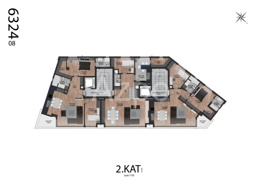 Квартиры планировки 2+1 в районе Гюзельоба Лара - Фото 9