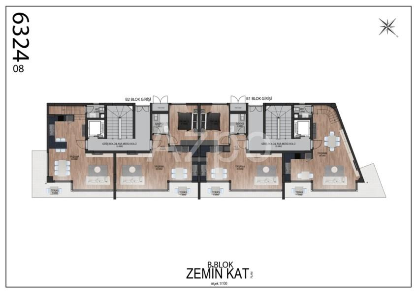 Квартиры планировки 2+1 в районе Гюзельоба Лара - Фото 15