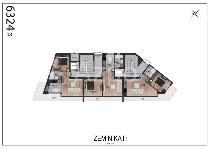 Квартиры планировки 2+1 в районе Гюзельоба Лара - Фото 11