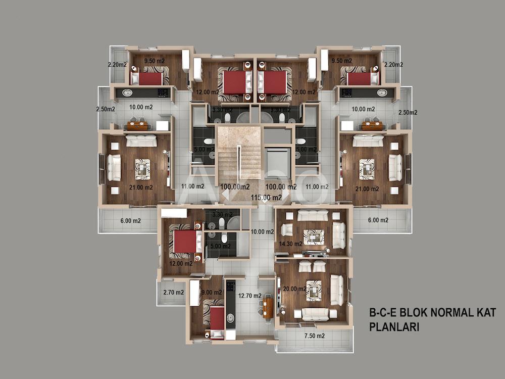 Квартиры 2+1 и 3+1 в районе Кепез Анталия - Фото 10