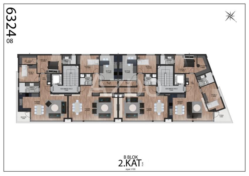 Квартиры планировки 2+1 в районе Гюзельоба Лара - Фото 13