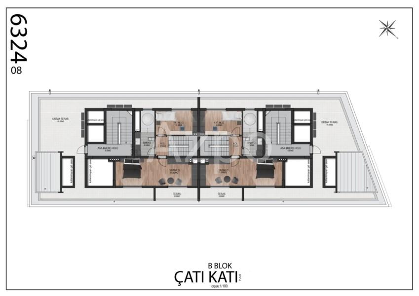 Квартиры планировки 2+1 в районе Гюзельоба Лара - Фото 14