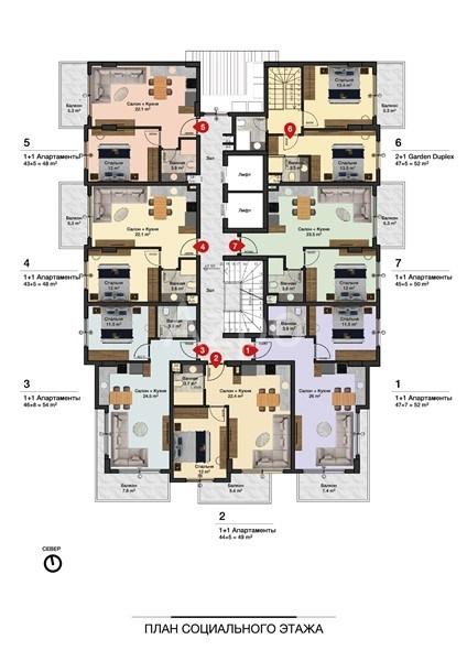Новые квартиры разных планировок в центре Алании - Фото 13