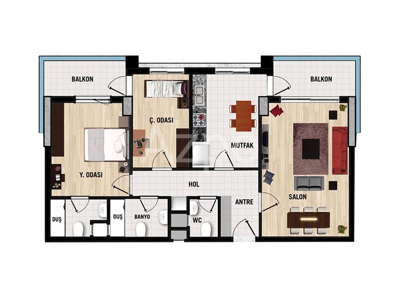 Квартиры 1+1 в комплексе в районе Дошемеалты Анталия - Фото 18