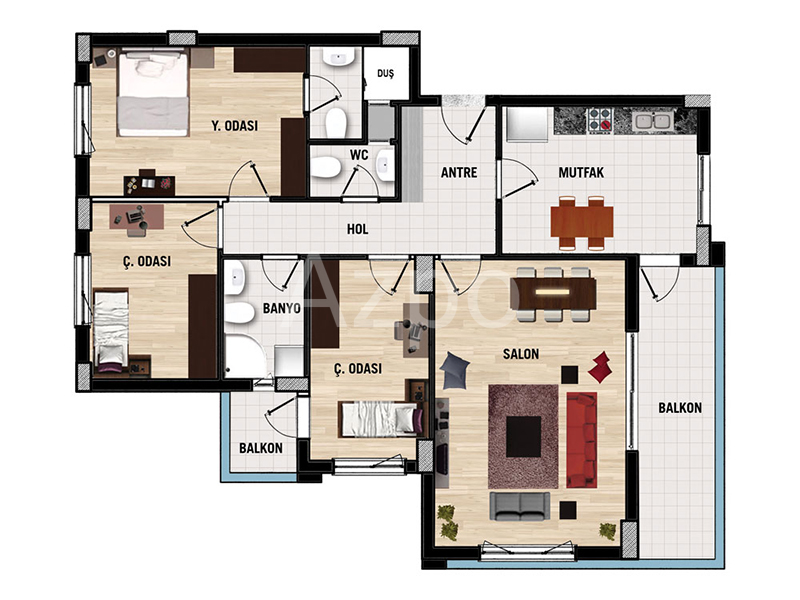 Квартиры 1+1 в комплексе в районе Дошемеалты Анталия - Фото 19