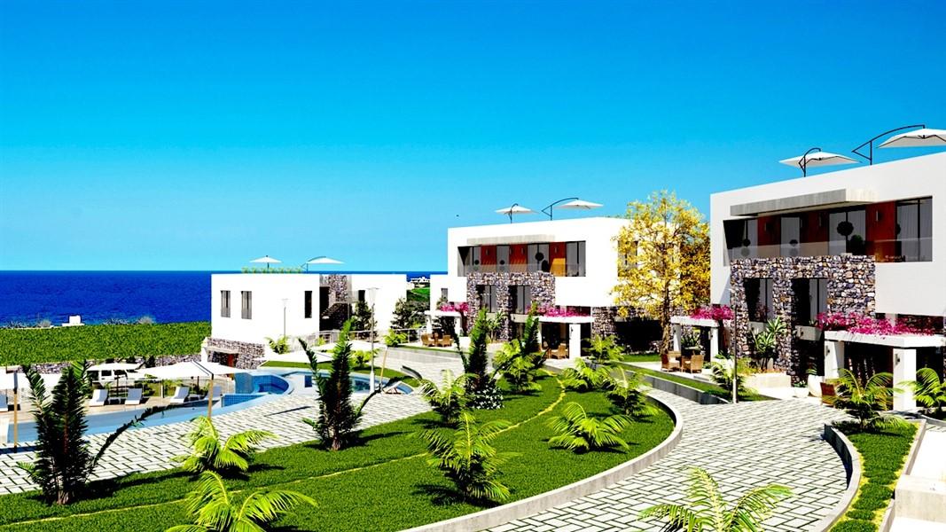 Садовый дуплекс 2+1 с видом на Средиземное море на острове Кипр