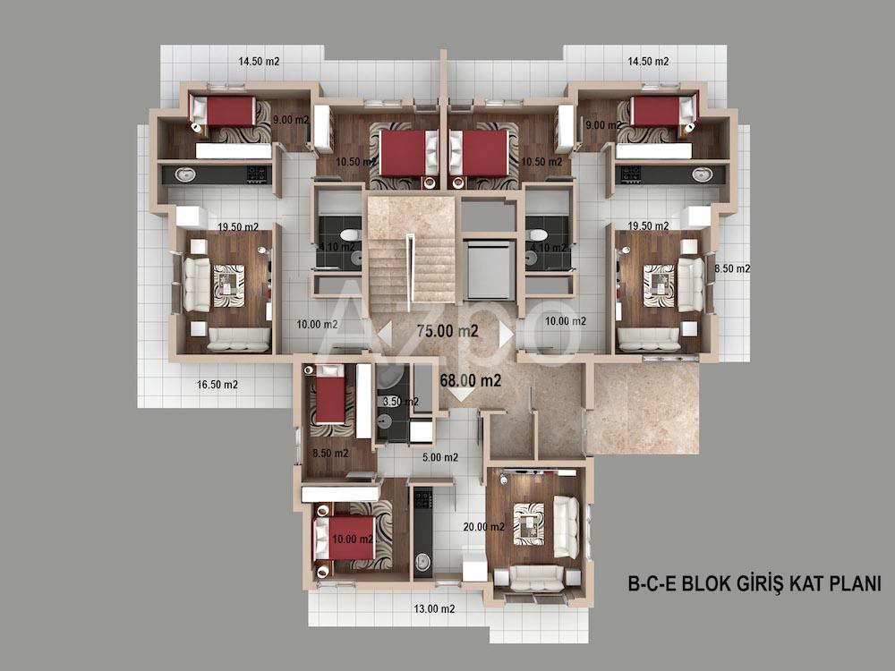 Квартиры 2+1 и 3+1 в районе Кепез Анталия - Фото 12