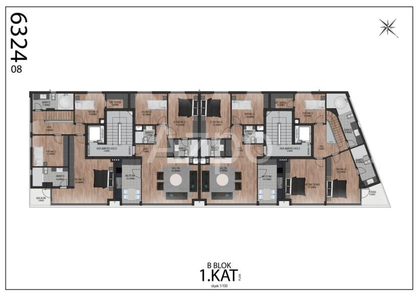 Квартиры планировки 2+1 в районе Гюзельоба Лара - Фото 12