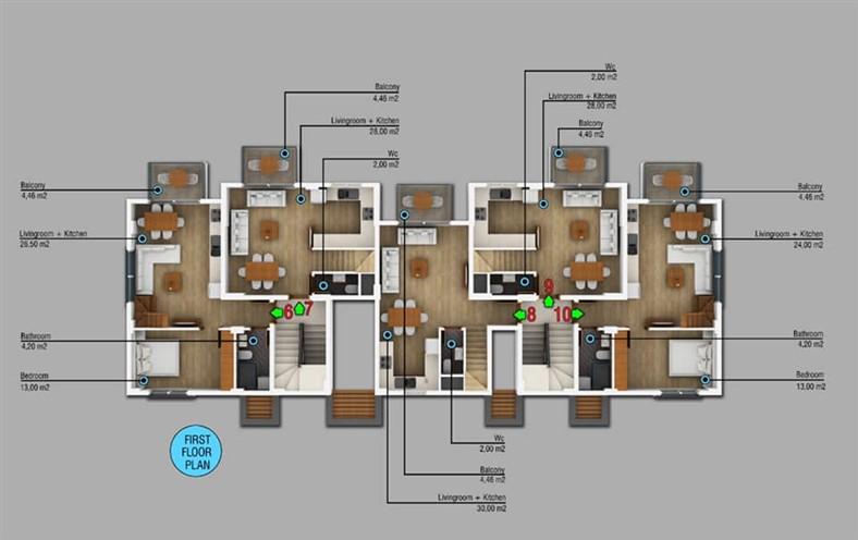 Двухкомнатные квартиры в новом комплексе Фетхие - Фото 7