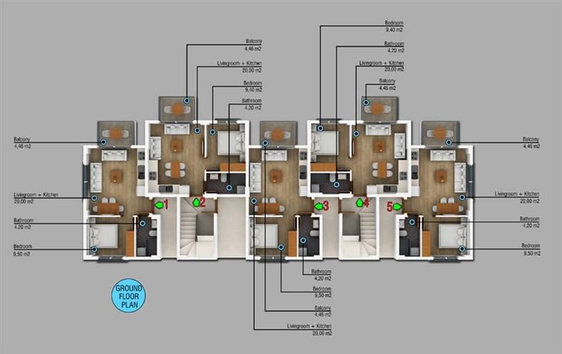 Двухкомнатные квартиры в новом комплексе Фетхие - Фото 5