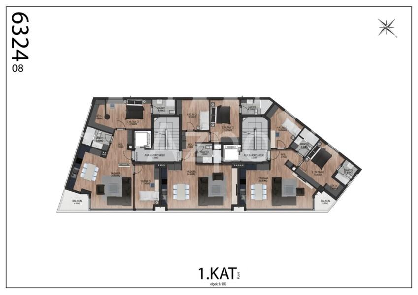 Квартиры планировки 2+1 в районе Гюзельоба Лара - Фото 8