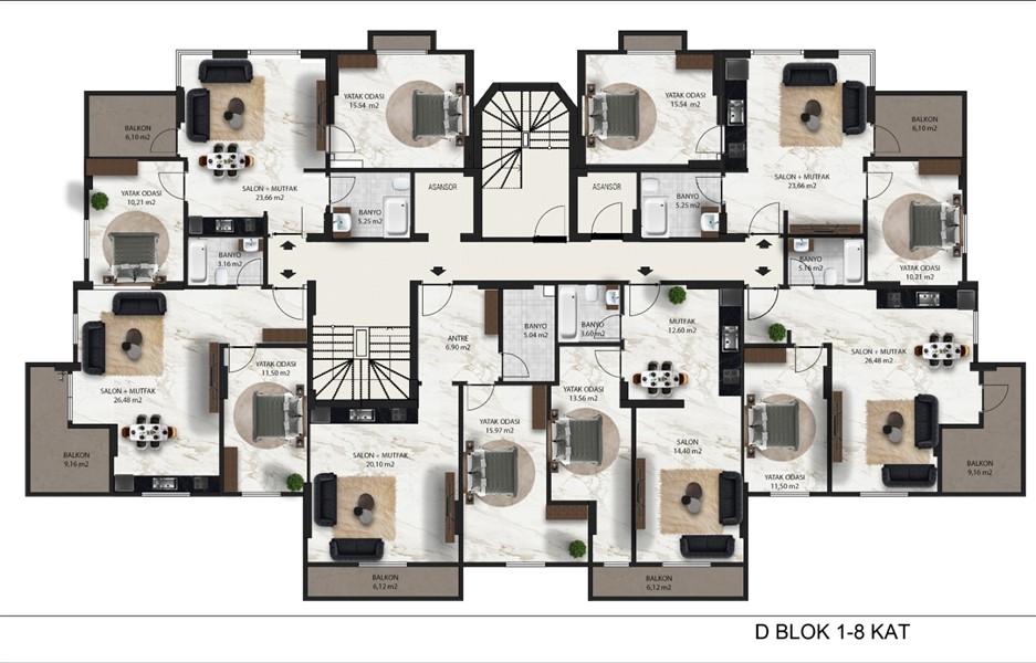 Элитный проект жилого комплекса в районе Махмутлар - Фото 51